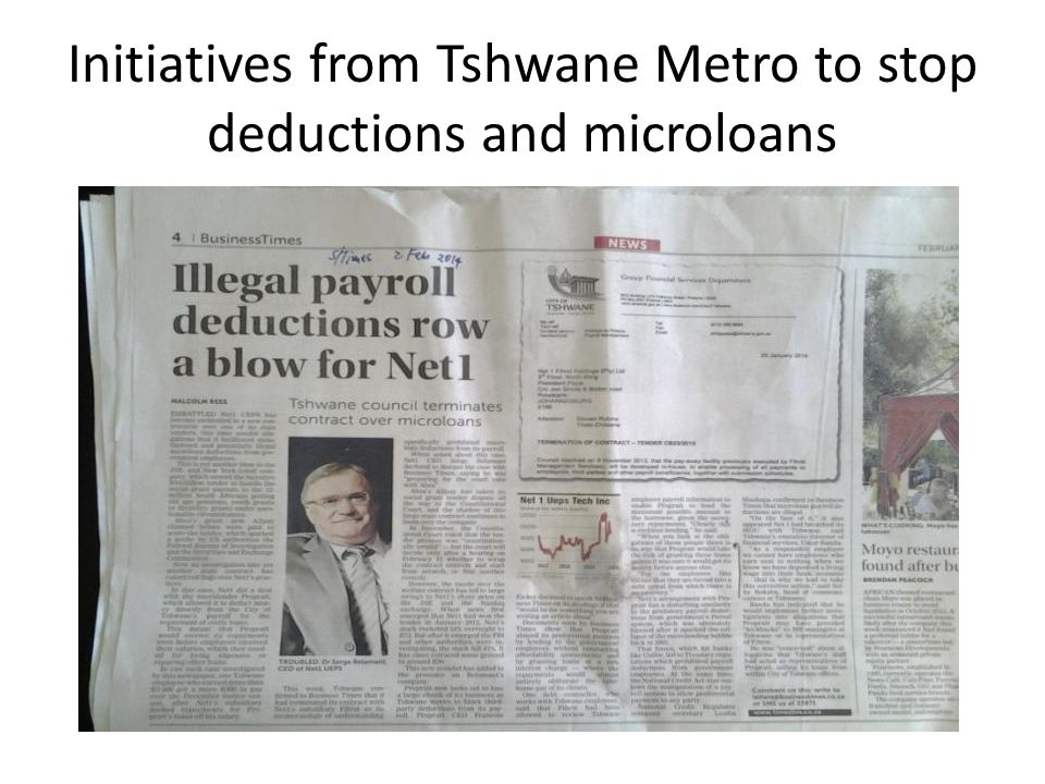Initiatives from Tshwane Metro to stop deductions and microloans