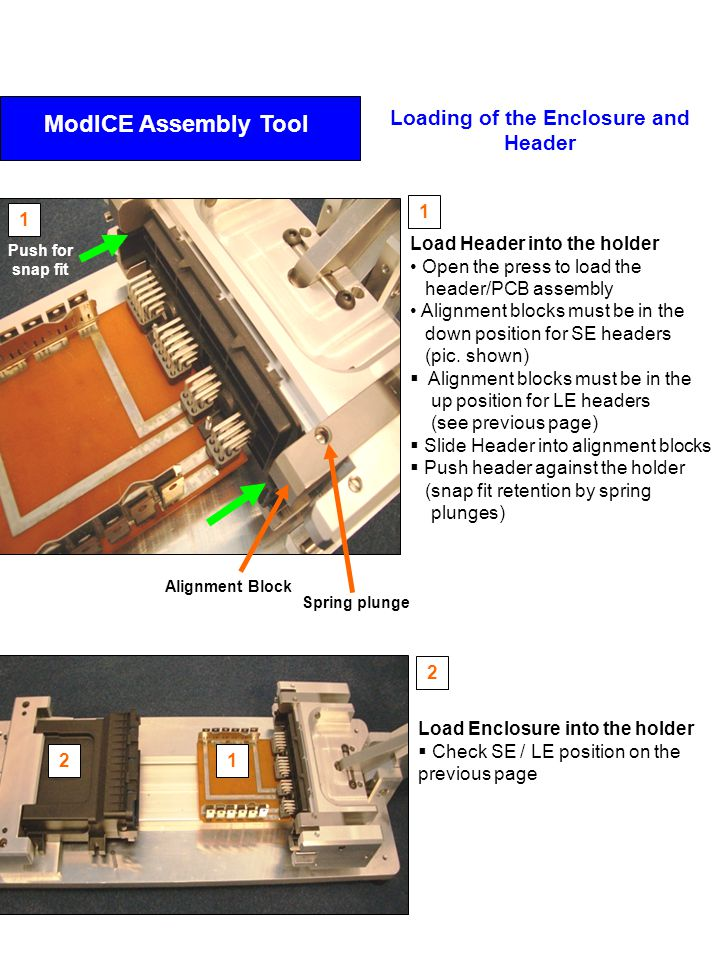 Load Enclosure into the holder  Check SE / LE position on the previous page Load Header into the holder Open the press to load the header/PCB assembl