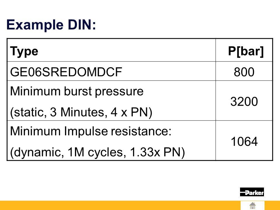 Type P[bar] GE06SREDOMDCF800 Minimum burst pressure (static, 3 Minutes, 4 x PN) 3200 Minimum Impulse resistance: (dynamic, 1M cycles, 1.33x PN) 1064 Example DIN: