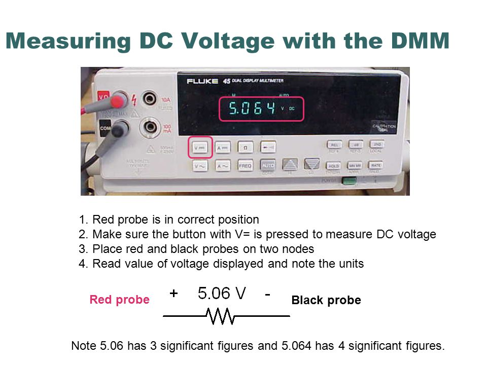 Measuring DC Voltage with the DMM 1. Red probe is in correct position 2.