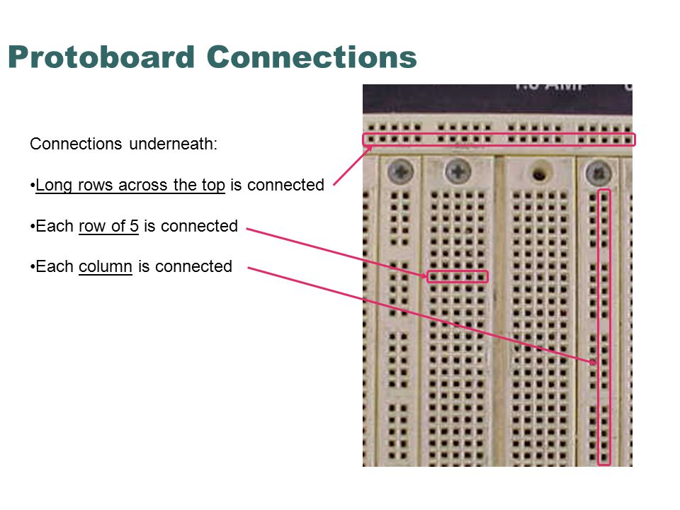 Protoboard Connections Connections underneath: Long rows across the top is connected Each row of 5 is connected Each column is connected