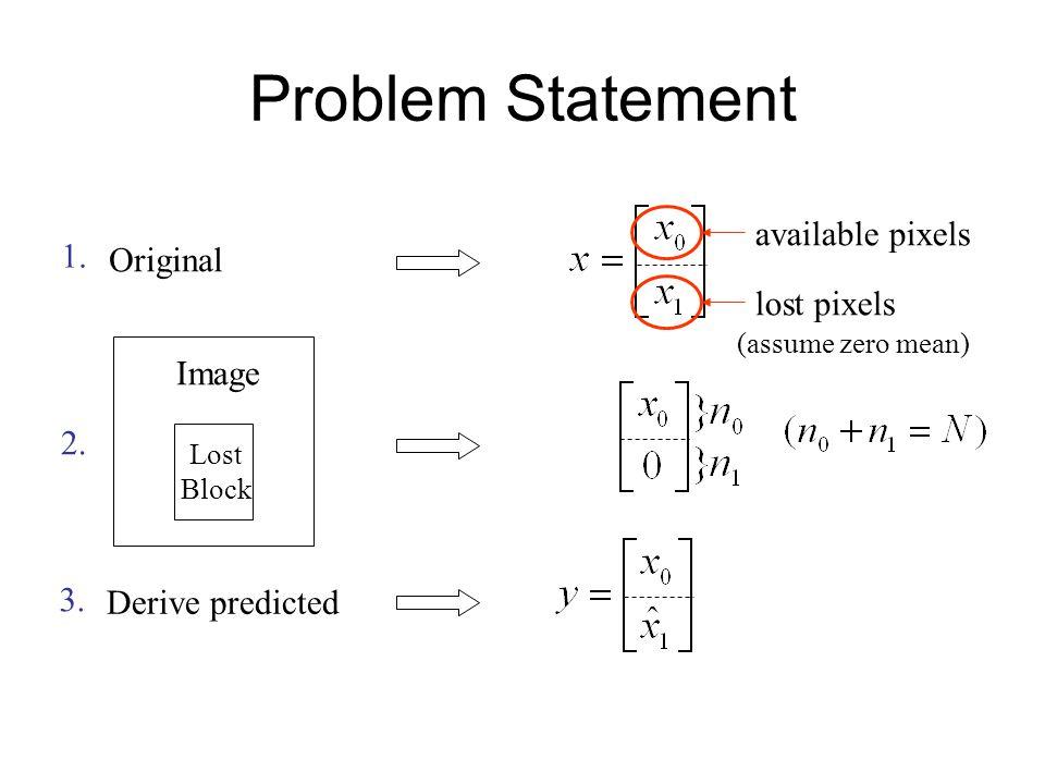 Problem Statement Original available pixels lost pixels (assume zero mean) 1. Lost Block Image 2. Derive predicted 3.