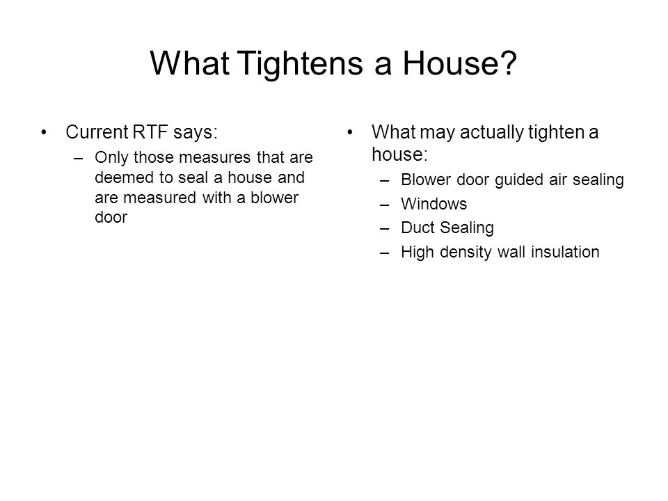 What Tightens a House.