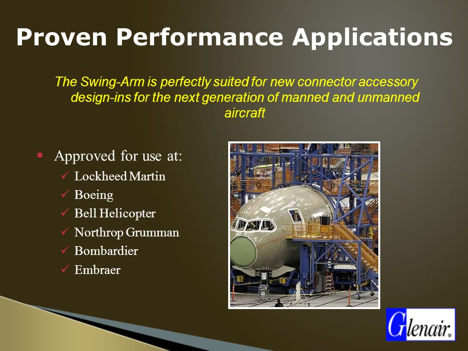 The Swing-Arm is perfectly suited for new connector accessory design-ins for the next generation of manned and unmanned aircraft  Approved for use at: Lockheed Martin Boeing Bell Helicopter Northrop Grumman Bombardier Embraer Proven Performance Applications