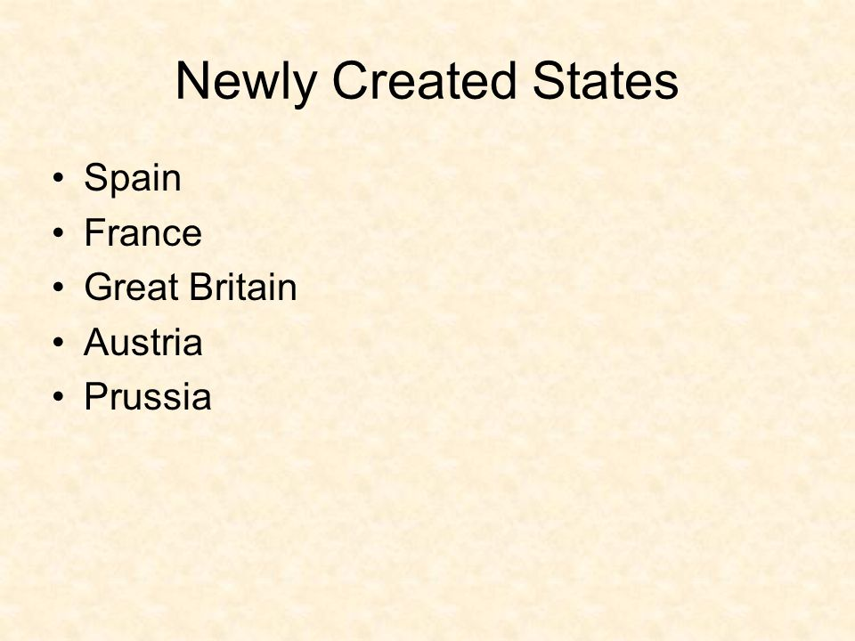 Newly Created States Spain France Great Britain Austria Prussia