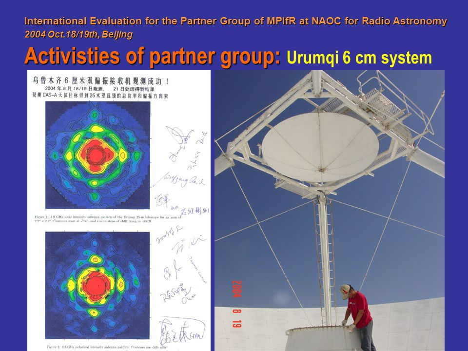 International Evaluation for the Partner Group of MPIfR at NAOC for Radio Astronomy 2004 Oct.18/19th, Beijing Activisties of partner group: Activistie