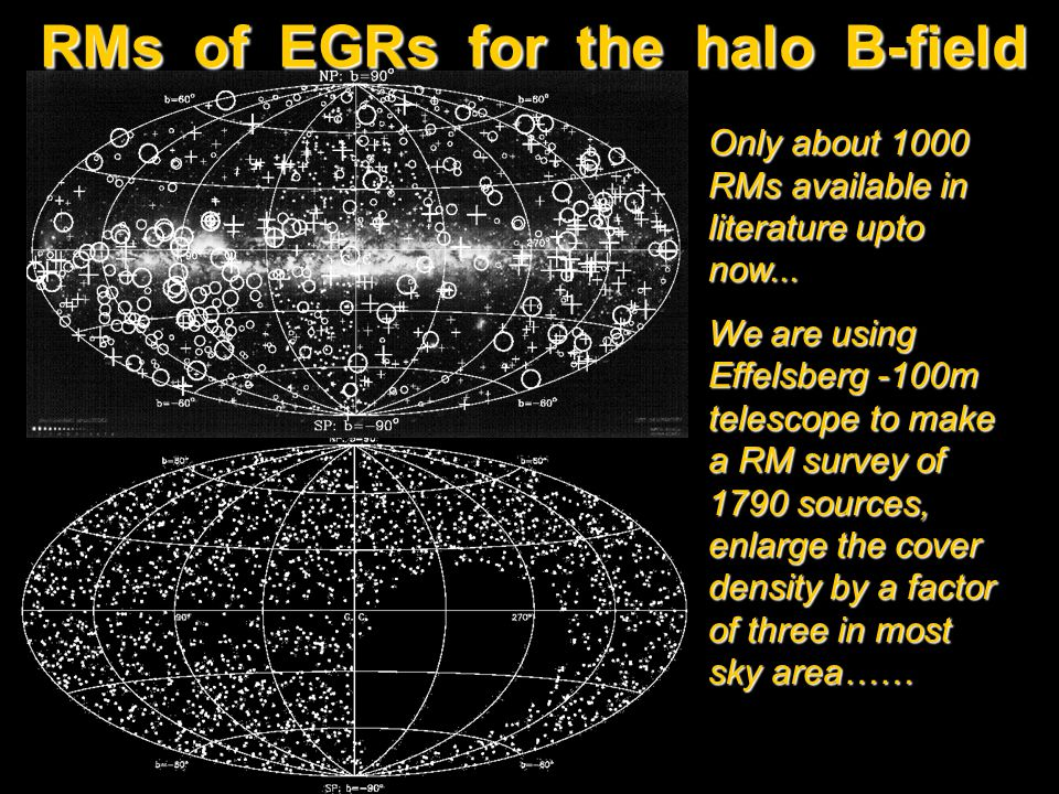 RMs of EGRs for the halo B-field Only about 1000 RMs available in literature upto now... We are using Effelsberg -100m telescope to make a RM survey o