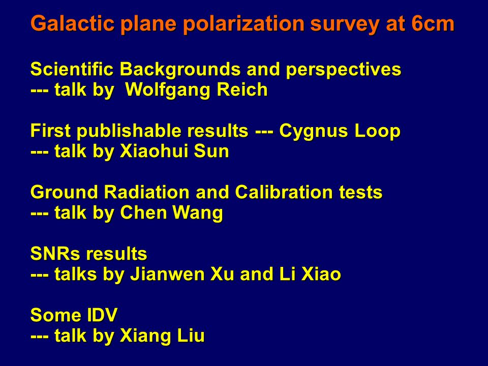 Galactic plane polarization survey at 6cm Scientific Backgrounds and perspectives --- talk by Wolfgang Reich First publishable results --- Cygnus Loop