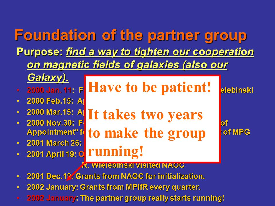 2001 Oct.12-Nov.10: JinLin Han visited MPIfR: for work on pulsars and magnetic fields: some obs of PSR RMs 2002 May-July: Xizhen Zhang & Xianghua Li visited at MPIfR 2002 July: Prof.