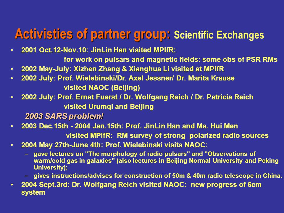 2001 Oct.12-Nov.10: JinLin Han visited MPIfR: for work on pulsars and magnetic fields -- p.21: Invited Review 2002 May-July: Xizhen Zhang & Xianghua Li visited at MPIfR -- p.59 paper 2002 July: Prof.