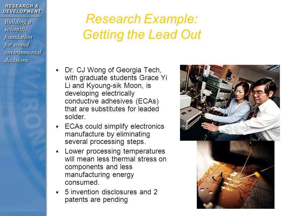 Research Example: Getting the Lead Out  Dr.