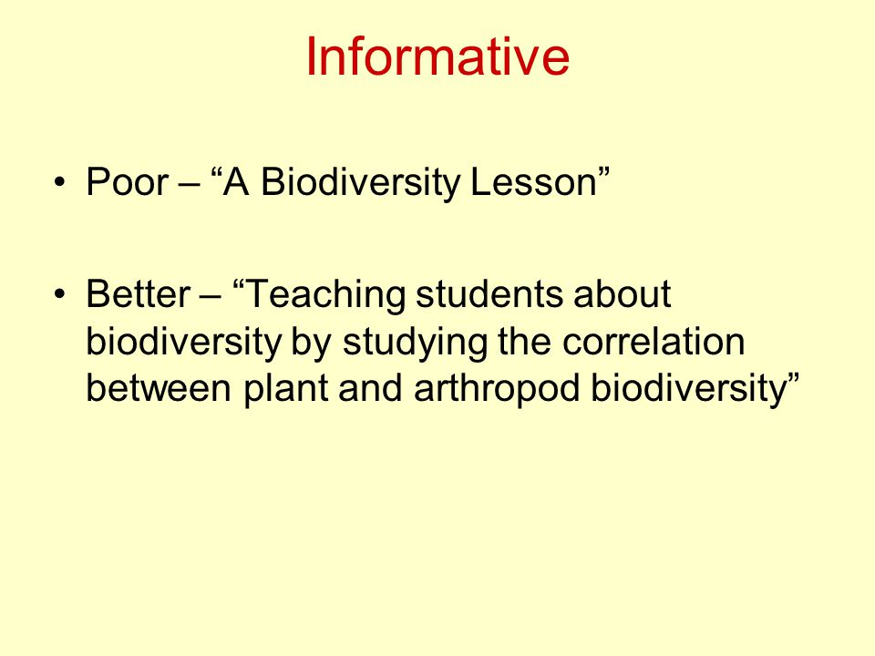 Informative Poor – A Biodiversity Lesson Better – Teaching students about biodiversity by studying the correlation between plant and arthropod biodiversity