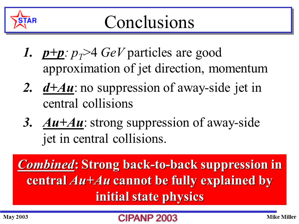 May 2003Mike Miller Conclusions 1.p+p: p T >4 GeV particles are good approximation of jet direction, momentum 2.d+Au: no suppression of away-side jet in central collisions 3.Au+Au: strong suppression of away-side jet in central collisions.