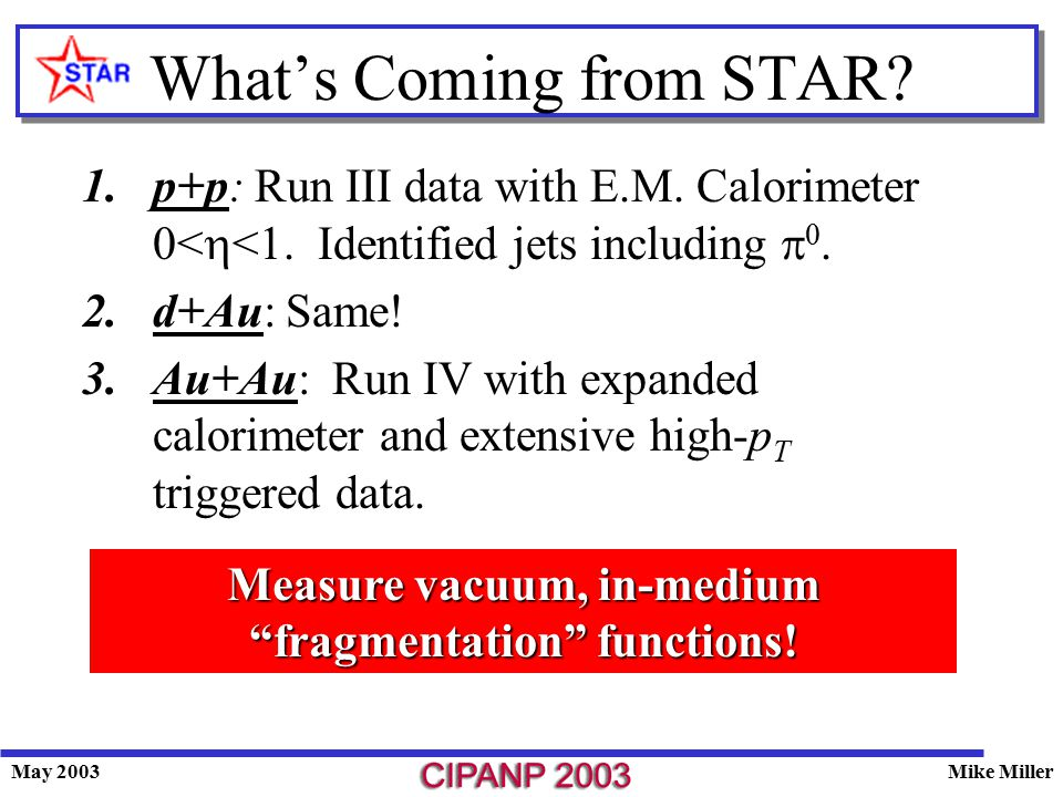 May 2003Mike Miller What's Coming from STAR.1.p+p: Run III data with E.M.