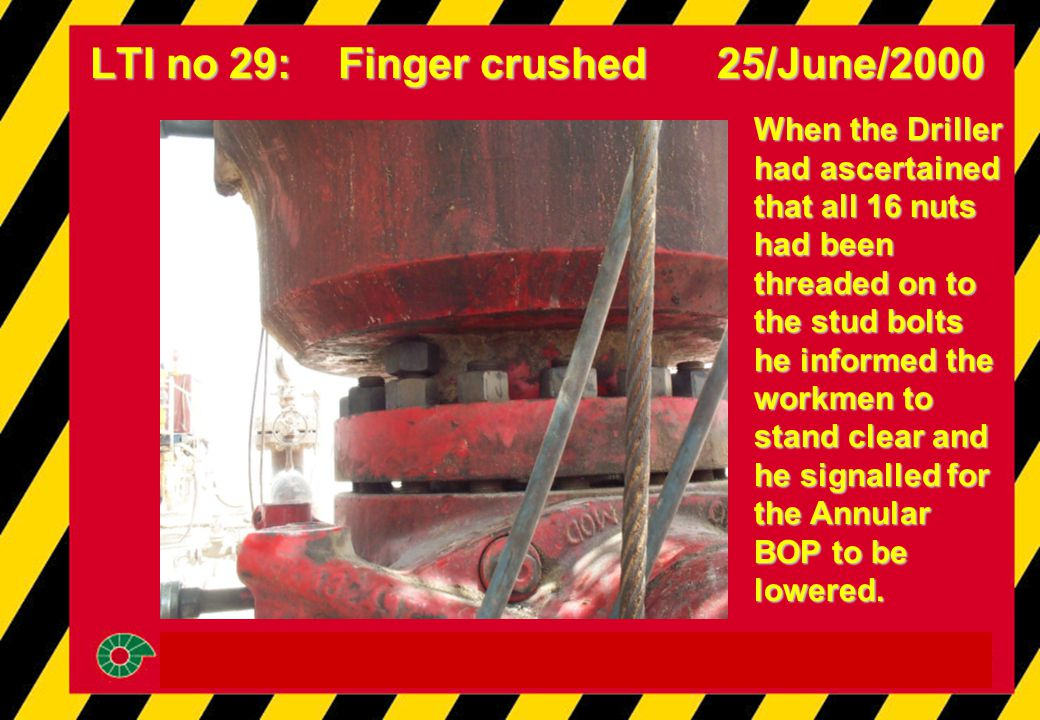 LTI no 29: Finger crushed 25/June/2000 When the Driller had ascertained that all 16 nuts had been threaded on to the stud bolts he informed the workmen to stand clear and he signalled for the Annular BOP to be lowered.