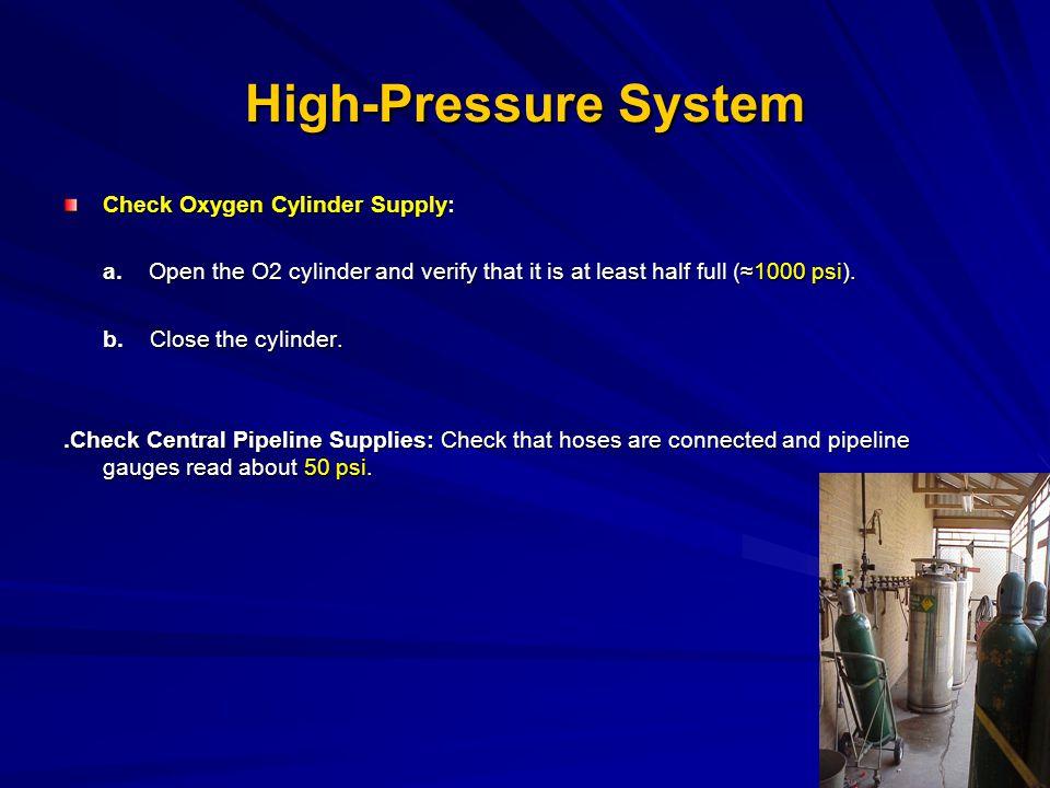 High-Pressure System Check Oxygen Cylinder Supply: Check Oxygen Cylinder Supply: a.