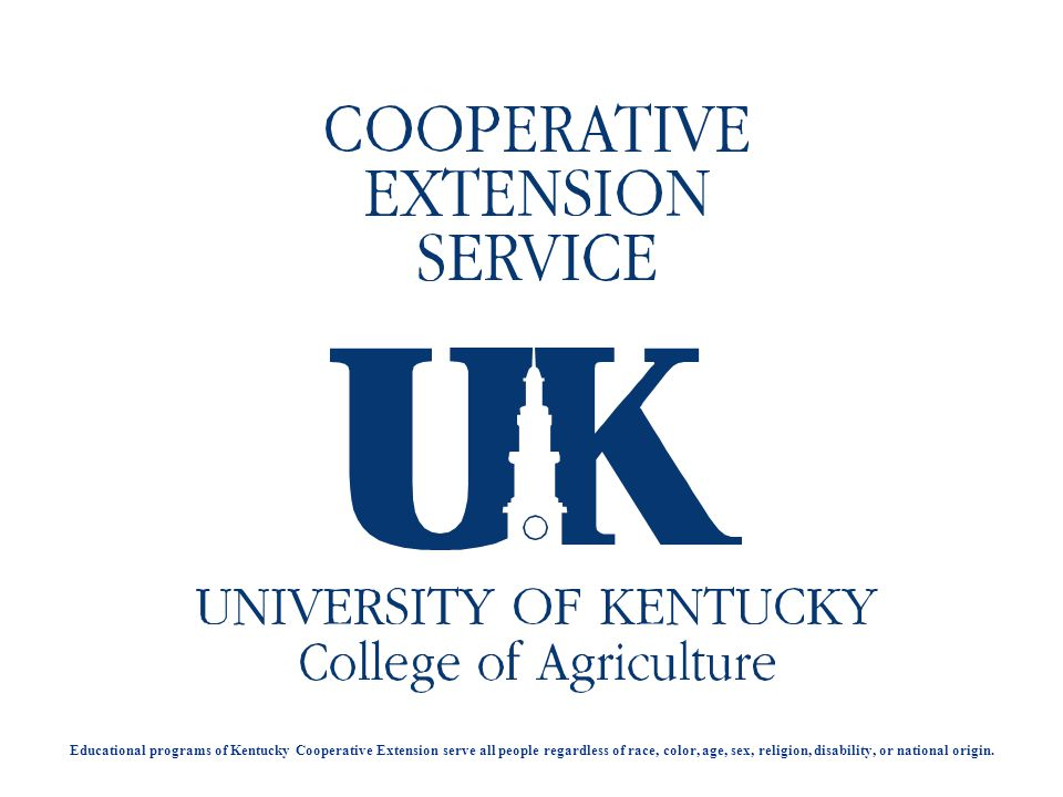 Educational programs of Kentucky Cooperative Extension serve all people regardless of race, color, age, sex, religion, disability, or national origin.
