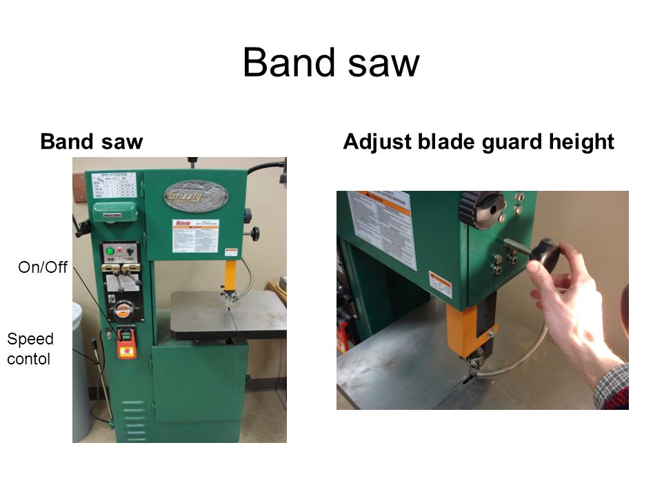 Adjust blade guard height Never move fingers into the blade. Use scrap wood to guide work