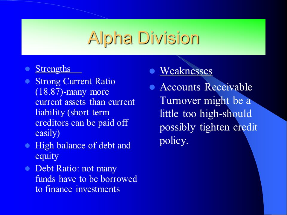 Alpha Division Strengths Strong Current Ratio (18.87)-many more current assets than current liability (short term creditors can be paid off easily) High balance of debt and equity Debt Ratio: not many funds have to be borrowed to finance investments Weaknesses Accounts Receivable Turnover might be a little too high-should possibly tighten credit policy.
