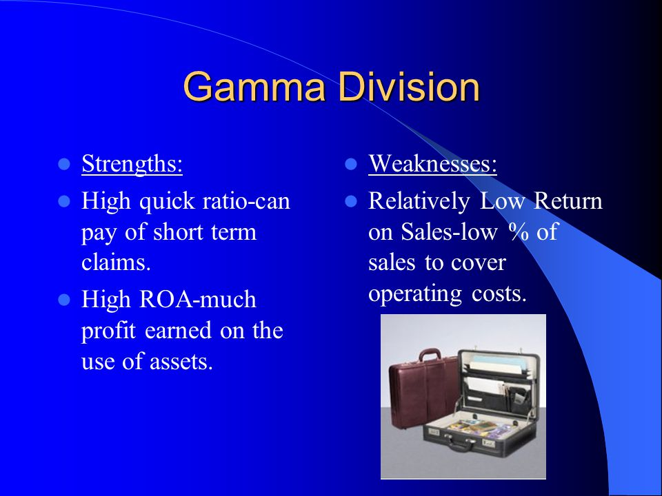 Gamma Division Strengths: High quick ratio-can pay of short term claims.