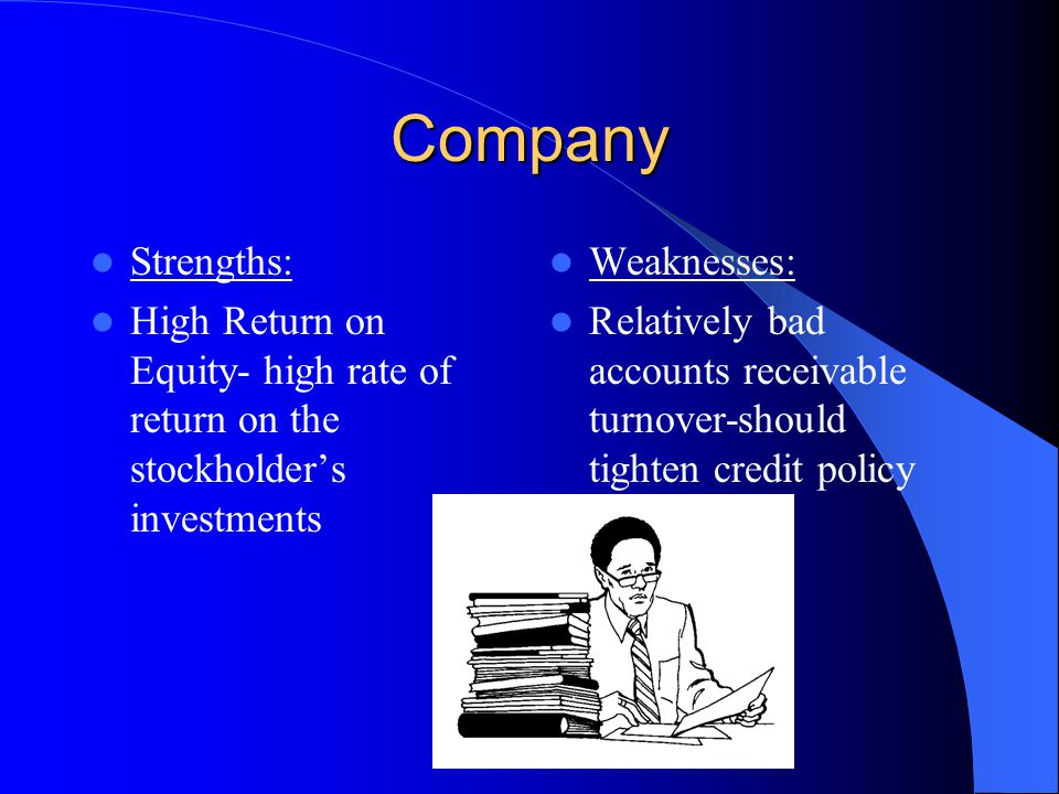 Company Strengths: High Return on Equity- high rate of return on the stockholder's investments Weaknesses: Relatively bad accounts receivable turnover-should tighten credit policy