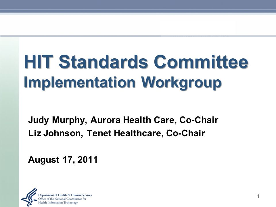 HIT Standards Committee Implementation Workgroup Judy Murphy, Aurora Health Care, Co-Chair Liz Johnson, Tenet Healthcare, Co-Chair August 17, 2011 1