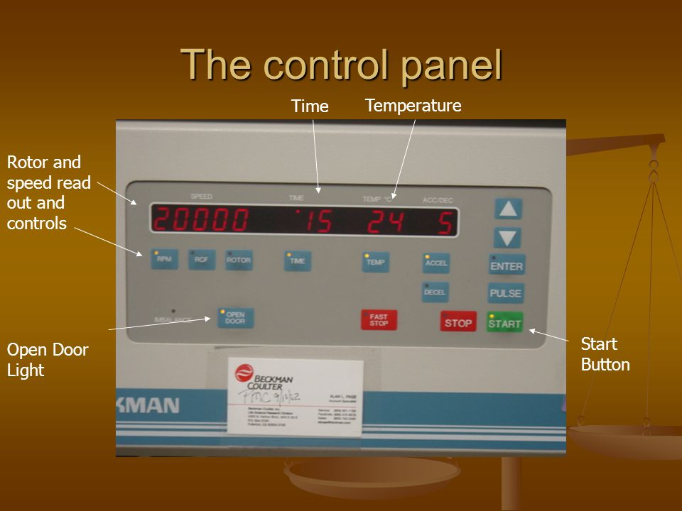 The control panel Open Door Light Start Button Rotor and speed read out and controls Time Temperature