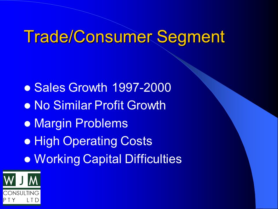 WMJ CONSULTING P T Y L T D Trade P&L Summary FY 2000 Sales $536.1m Trading Gross Profit$280.8m (52.4%) Gross Margin$233.6m (43.6%) Op Costs$198.3m (37.0%) PBIT$35.3m (6.6%)