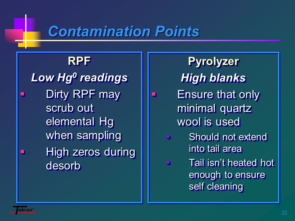 22 Contamination Points RPF Low Hg 0 readings  Dirty RPF may scrub out elemental Hg when sampling  High zeros during desorb RPF Low Hg 0 readings  Dirty RPF may scrub out elemental Hg when sampling  High zeros during desorb Pyrolyzer High blanks  Ensure that only minimal quartz wool is used  Should not extend into tail area  Tail isn't heated hot enough to ensure self cleaning Pyrolyzer High blanks  Ensure that only minimal quartz wool is used  Should not extend into tail area  Tail isn't heated hot enough to ensure self cleaning