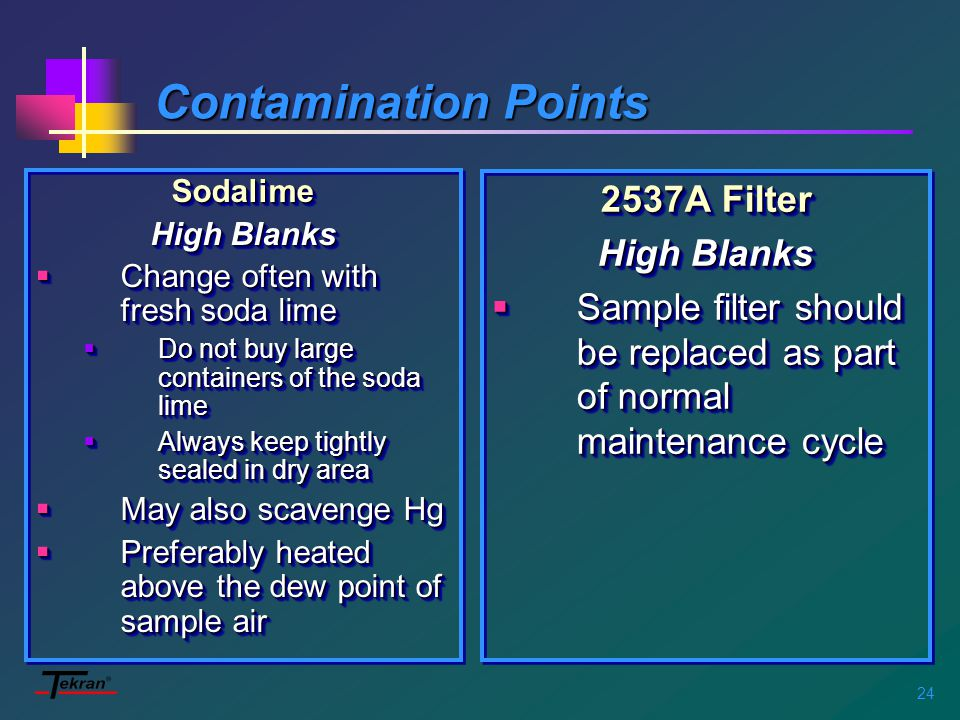 24 Contamination Points Sodalime High Blanks  Change often with fresh soda lime  Do not buy large containers of the soda lime  Always keep tightly sealed in dry area  May also scavenge Hg  Preferably heated above the dew point of sample air Sodalime High Blanks  Change often with fresh soda lime  Do not buy large containers of the soda lime  Always keep tightly sealed in dry area  May also scavenge Hg  Preferably heated above the dew point of sample air 2537A Filter High Blanks  Sample filter should be replaced as part of normal maintenance cycle 2537A Filter High Blanks  Sample filter should be replaced as part of normal maintenance cycle