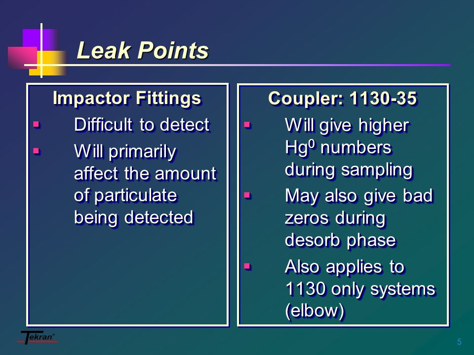 5 Impactor Fittings  Difficult to detect  Will primarily affect the amount of particulate being detected Impactor Fittings  Difficult to detect  Will primarily affect the amount of particulate being detected Coupler: 1130-35  Will give higher Hg 0 numbers during sampling  May also give bad zeros during desorb phase  Also applies to 1130 only systems (elbow) Coupler: 1130-35  Will give higher Hg 0 numbers during sampling  May also give bad zeros during desorb phase  Also applies to 1130 only systems (elbow)