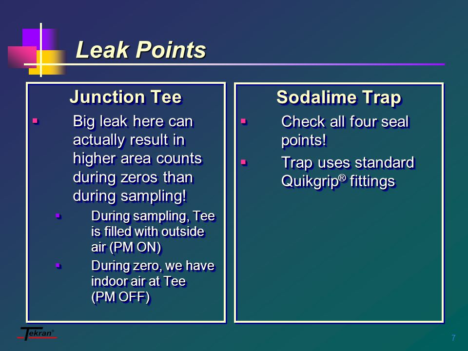 7 Leak Points Junction Tee  Big leak here can actually result in higher area counts during zeros than during sampling.