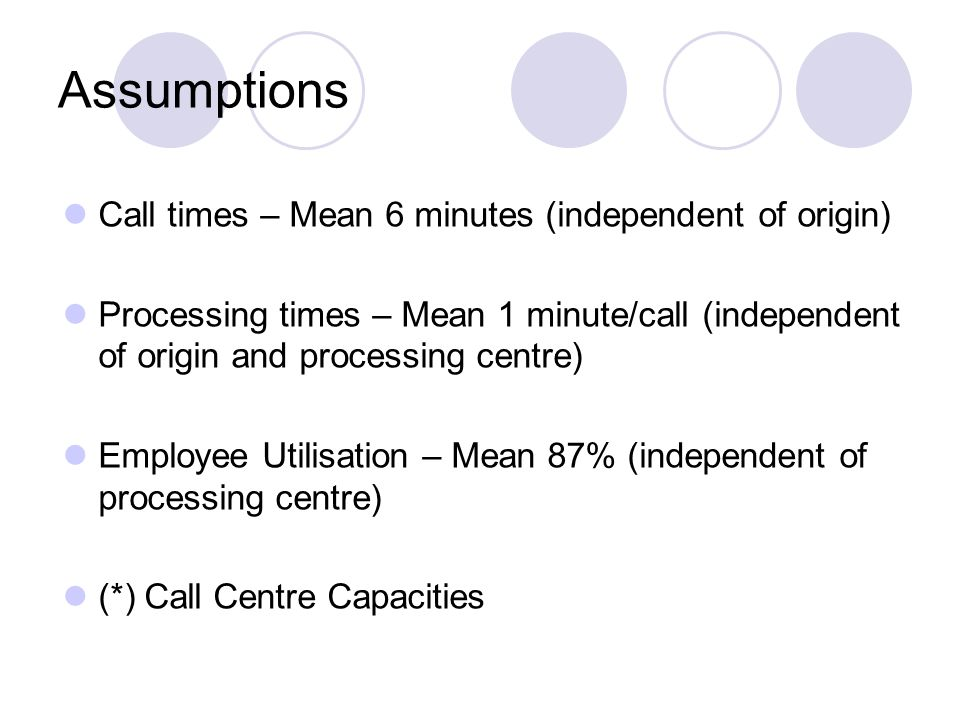 Assumptions Call times – Mean 6 minutes (independent of origin) Processing times – Mean 1 minute/call (independent of origin and processing centre) Employee Utilisation – Mean 87% (independent of processing centre) (*) Call Centre Capacities