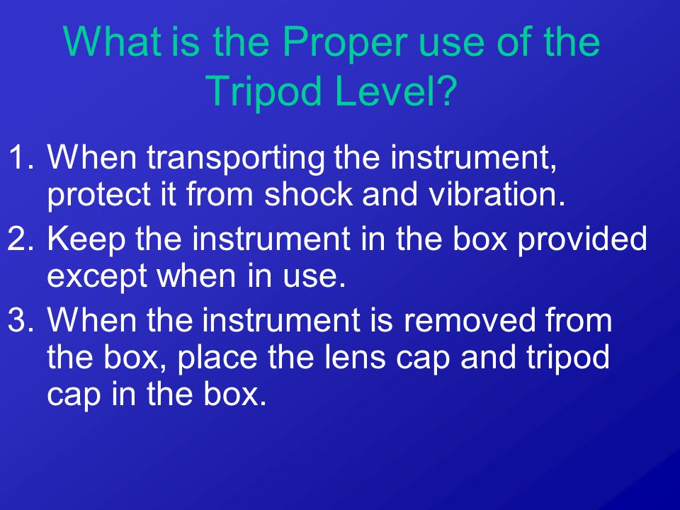 1.When transporting the instrument, protect it from shock and vibration. 2.Keep the instrument in the box provided except when in use. 3.When the inst