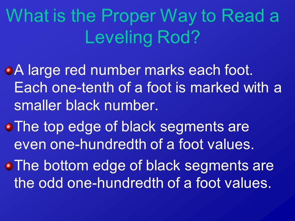 A large red number marks each foot. Each one-tenth of a foot is marked with a smaller black number. The top edge of black segments are even one-hundre