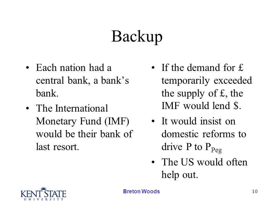Breton Woods 10 Backup Each nation had a central bank, a bank's bank.
