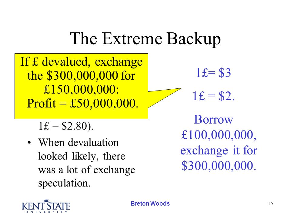 Breton Woods 15 The Extreme Backup The foreign government could devalue (say from 1£ = $4.80 to 1£ = $2.80).