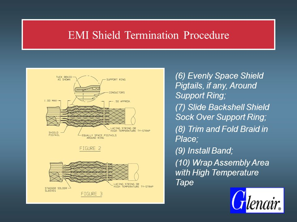  (6) Evenly Space Shield Pigtails, if any, Around Support Ring;  (7) Slide Backshell Shield Sock Over Support Ring;  (8) Trim and Fold Braid in Place;  (9) Install Band;  (10) Wrap Assembly Area with High Temperature Tape EMI Shield Termination Procedure