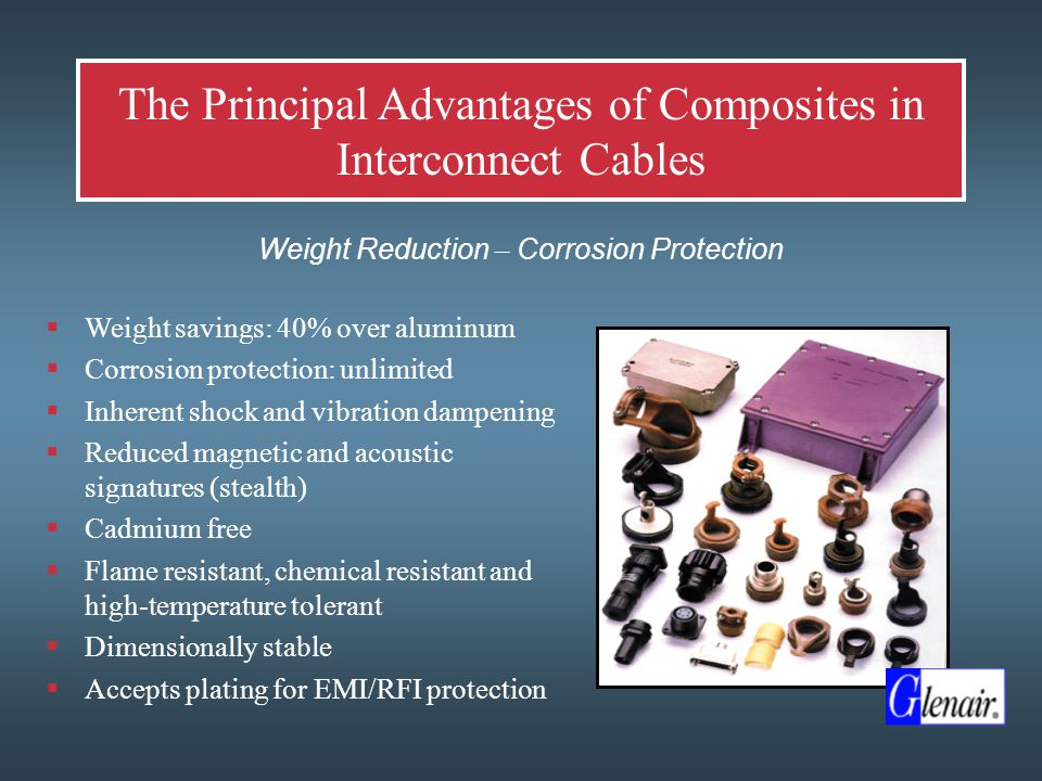 Technology Example: Ultra-Light Weight Composite EMI/RFI Braided Shielding  Nickel Plated Composite Shielding Offers Unique Solution to Electromagnetic Compatibility  Expandable, flexible, high- strength, conductive, elastic composite material  Provides abrasion resistance and EMI shielding at a fraction of the weight of metal braid
