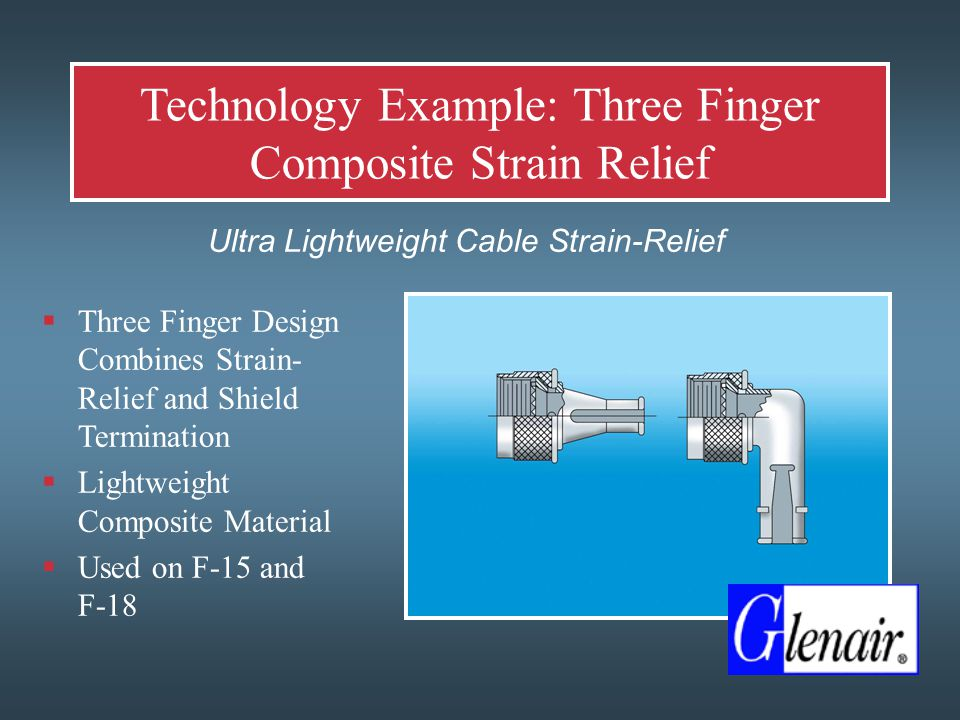 Technology Example: Three Finger Composite Strain Relief  Ultra Lightweight Cable Strain-Relief  Three Finger Design Combines Strain- Relief and Shield Termination  Lightweight Composite Material  Used on F-15 and F-18