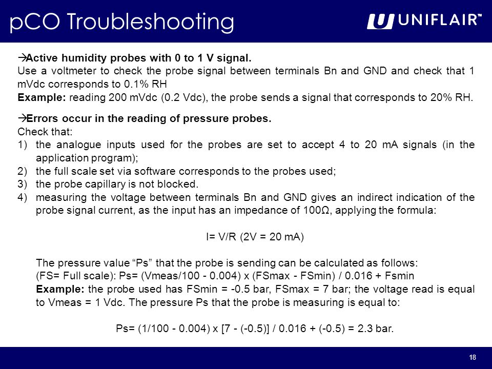 18 pCO Troubleshooting  Active humidity probes with 0 to 1 V signal.