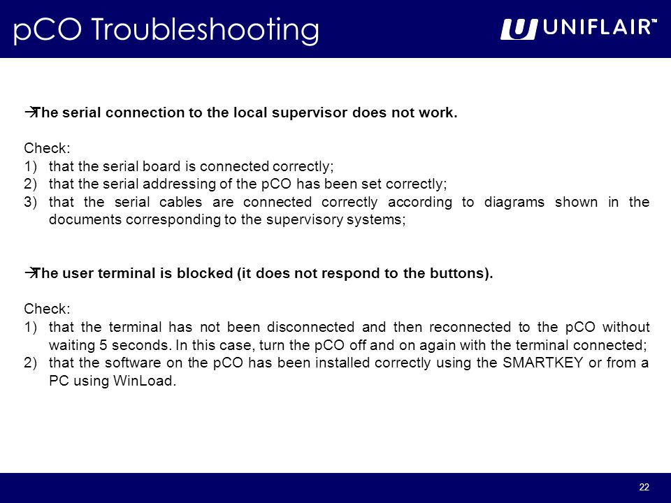 22 pCO Troubleshooting  The serial connection to the local supervisor does not work.
