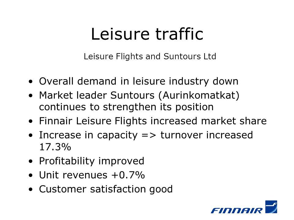 Leisure traffic Leisure Flights and Suntours Ltd Overall demand in leisure industry down Market leader Suntours (Aurinkomatkat) continues to strengthe