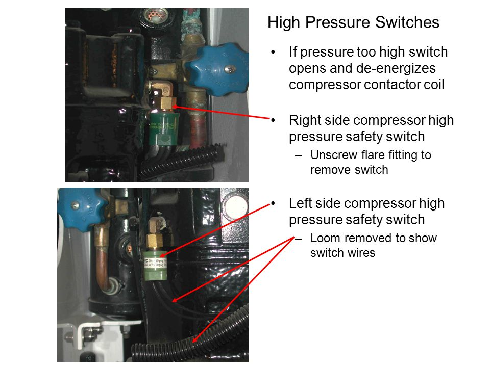 High Pressure Switches If pressure too high switch opens and de-energizes compressor contactor coil Right side compressor high pressure safety switch