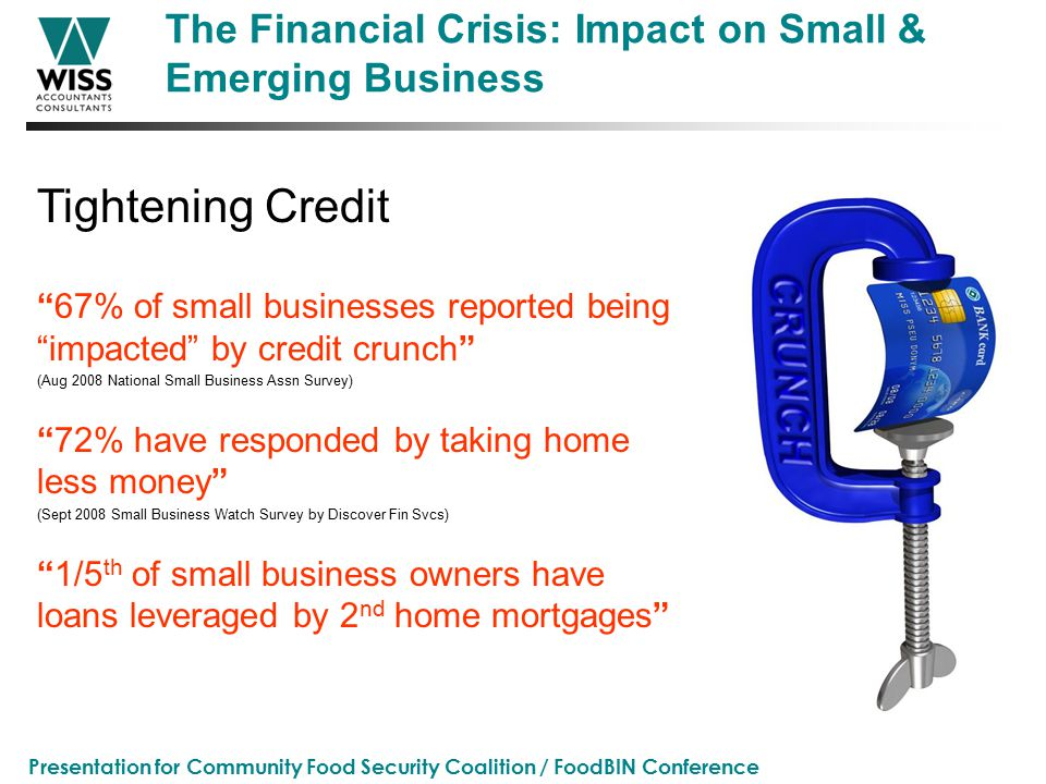 Presentation for Community Food Security Coalition / FoodBIN Conference The Financial Crisis: Impact on Small & Emerging Business 67% of small businesses reported being impacted by credit crunch (Aug 2008 National Small Business Assn Survey) 72% have responded by taking home less money (Sept 2008 Small Business Watch Survey by Discover Fin Svcs) 1/5 th of small business owners have loans leveraged by 2 nd home mortgages Tightening Credit