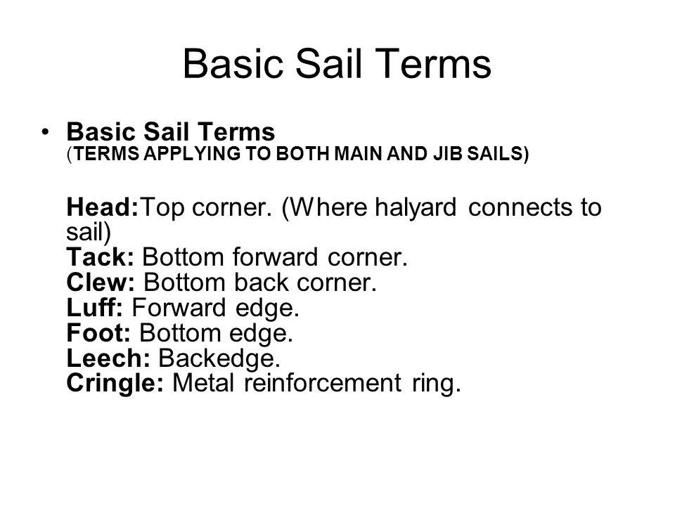 Basic Sail Terms Basic Sail Terms (TERMS APPLYING TO BOTH MAIN AND JIB SAILS) Head:Top corner. (Where halyard connects to sail) Tack: Bottom forward c