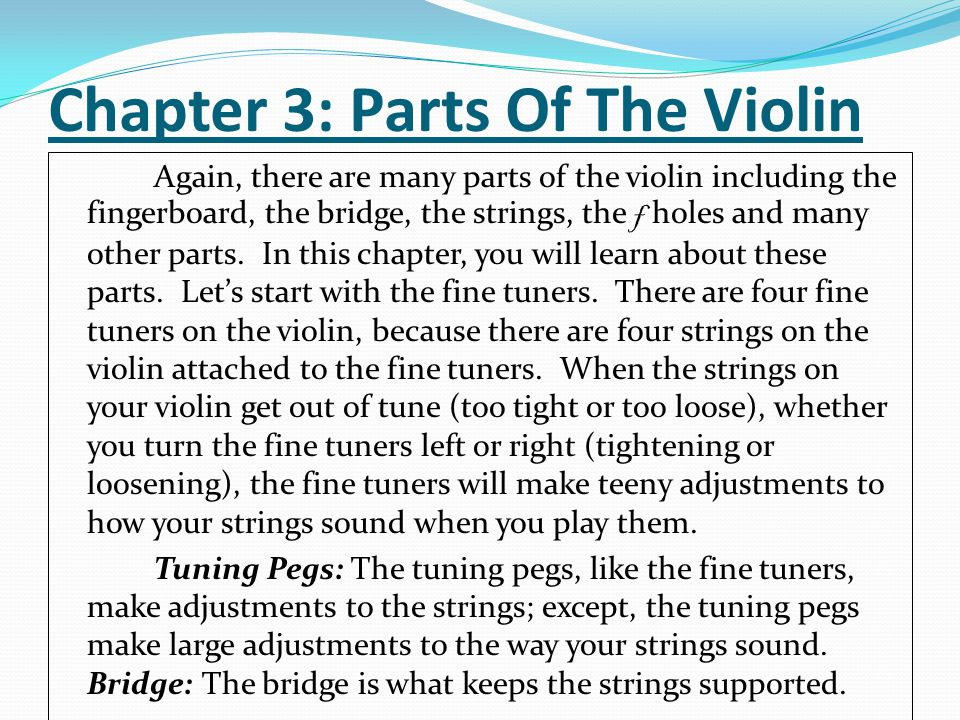 Chapter 3: Parts Of The Violin Again, there are many parts of the violin including the fingerboard, the bridge, the strings, the f holes and many other parts.