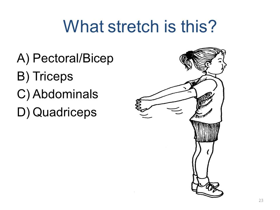 What stretch is this? A)Pectoral/Bicep B)Triceps C)Abdominals (Cobra) D)Quadriceps 22