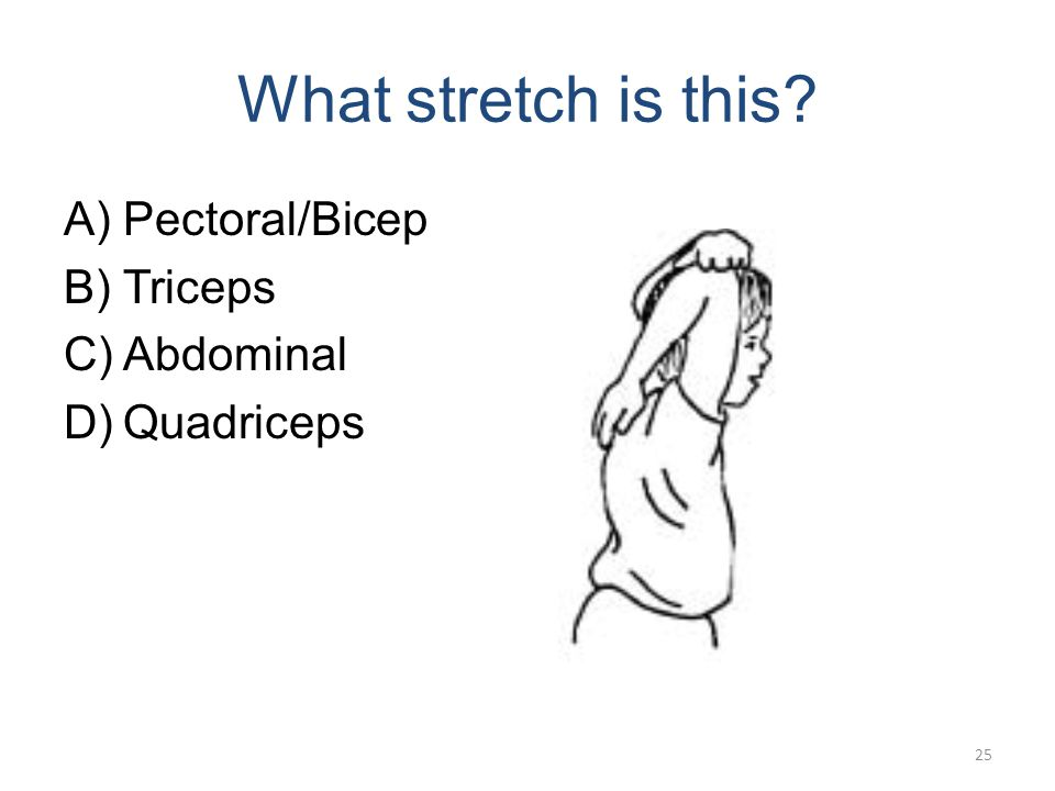 What stretch is this? A)Pectoral/Bicep B)Triceps C)Abdominals D)Quadriceps 24