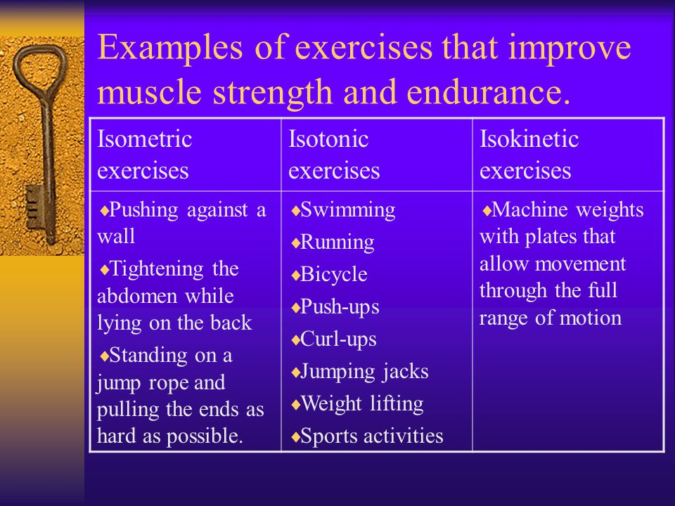 Examples of exercises that improve muscle strength and endurance.